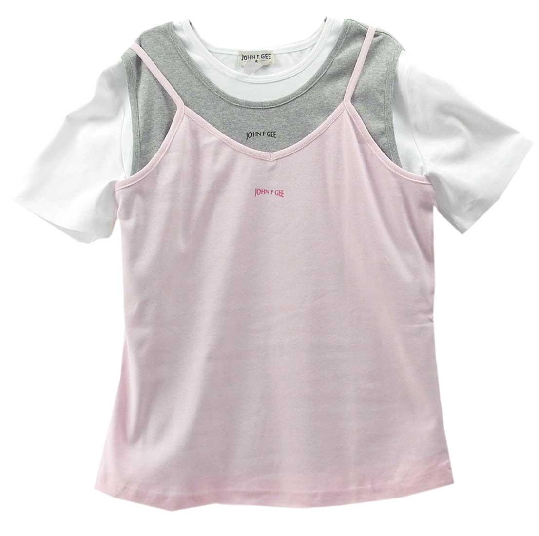 3-tlg-Set-Top-Tanktop-T-Shirt-Weiss-Rosa-Gr-48-50